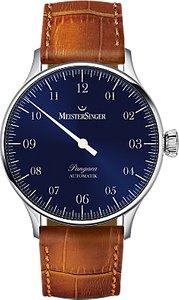 Read more about Meistersinger pm908 unisex pangaea automatic leather strap watch cognac sunburst blue