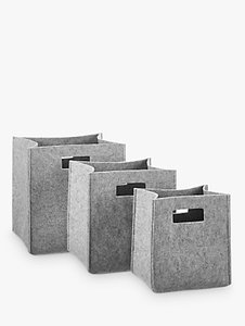 Read more about House by john lewis felt bucket storage box grey set of 3