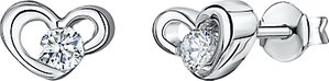 Read more about Jools by jenny brown cubic zirconia heart stud earrings silver