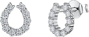 Read more about Jools by jenny brown cubic zirconia horseshoe stud earrings silver