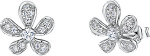 Read more about Jools by jenny brown cubic zirconia floral stud earrings silver