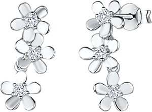 Read more about Jools by jenny brown cubic zirconia flower drop earrings silver