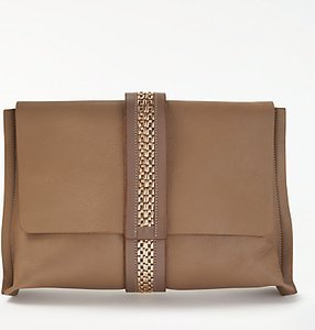 Read more about Modern rarity lee leather clutch bag taupe