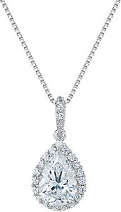 Read more about Jools by jenny brown cubic zirconia foiled teardrop pendant necklace silver