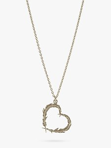 Read more about Alex monroe sterling silver open heart leaves pendant necklace silver
