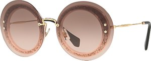 Read more about Miu miu mu 10rs round sunglasses gold pink gradient