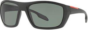 Read more about Prada linea rossa ps 06ss polarised rectangular sunglasses black grey