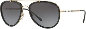 Read more about Burberry be3090 polarised aviator sunglasses gold grey gradient