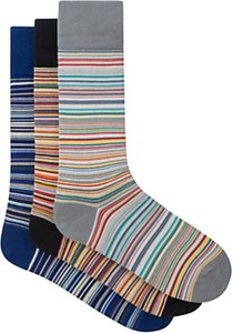 Read more about Paul smith signature stripe cotton socks one size pack of 3 blue orange grey