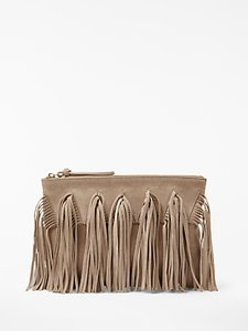 Read more about And or isabella suede fringe clutch bag nude