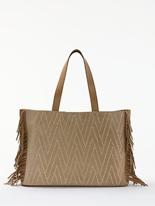 Read more about And or isabella suede fringe large studded tote bag taupe
