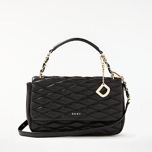 Read more about Dkny nappa leather quilted medium shoulder bag black