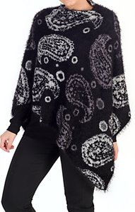 Read more about Chesca knitted paisley poncho black grey