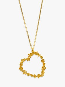 Read more about Alex monroe 22ct gold plated sterling silver floral heart pendant necklace gold