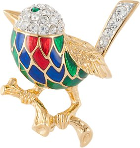 Read more about Susan caplan vintage attwood sawyer 22ct gold plated swarovski crystal bird brooch gold multi