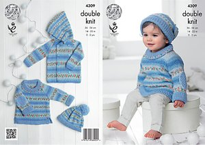 Read more about King cole baby drifter double knit knitting pattern 4309