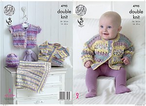 Read more about King cole baby drifter double knit knitting pattern 4795