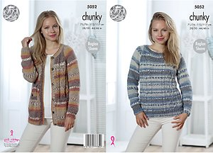 Read more about King cole drifter chunky women s cardigan and jumper knitting pattern 5052