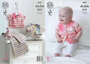 Read more about King cole baby drifter double knit knitting pattern 4797