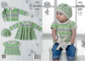 Read more about King cole baby drifter double knit knitting pattern 4312