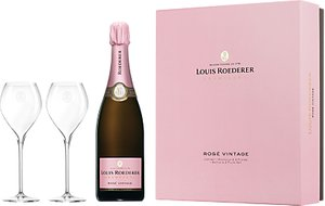 Read more about Louis roederer brut vintage rose champagne with glasses 75cl