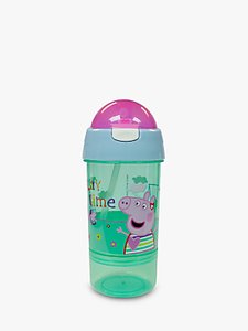 Read more about Peppa pig children s sip and snack water bottle 380ml pink green