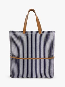 Read more about John lewis partners stripe cotton canvas shopper bag navy
