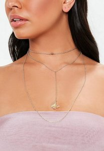 Read more about Gold butterfly charm longline necklace neutral