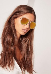 Read more about Gold geometric metal frame sunglasses gold