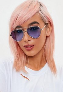 Read more about Silver blue lens aviator sunglasses blue
