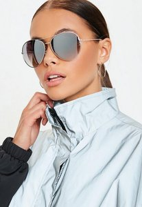 Read more about Silver glam aviator sunglasses grey