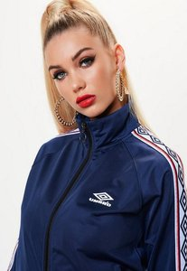 Read more about Umbro x missguided navy tape sleeve tricot track top blue