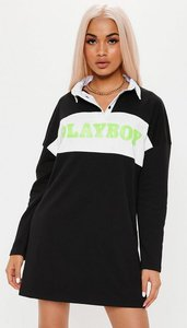 Read more about Playboy x missguided black neon slogan panel rugby dress black