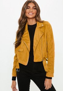 Read more about Faux suede belted biker jacket mustard yellow