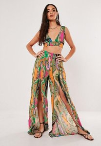 Read more about Pink paisley print co ord floaty chiffon split front palazzo trousers pink