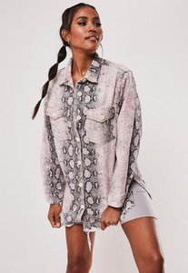 Read more about Pink snake print co ord oversized denim shirt pink