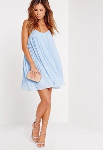 Read more about Strappy pleated swing dress blue blue