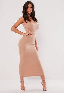 Read more about Nude ribbed strappy midi dress beige
