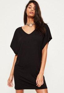 Read more about Black oversized wide v neck t-shirt dress black