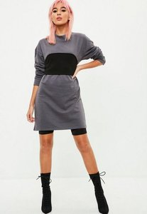 Read more about Grey black panel sweater dress grey