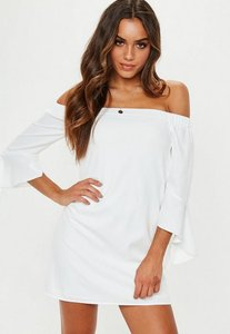 Read more about White bardot frill sleeve shift dress white