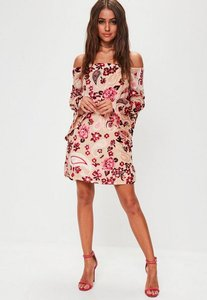 Read more about Nude floral velvet flare sleeve dress beige