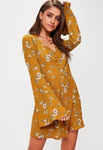 Read more about Yellow floral button flare sleeve skater dress yellow