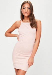 Read more about Pink 90 s neck bodycon dress beige