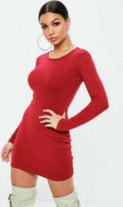 Read more about Red ribbed long sleeve bodycon mini dress red