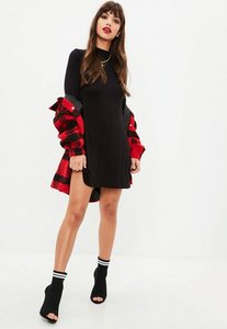 Read more about Black long sleeve roll neck swing dress black
