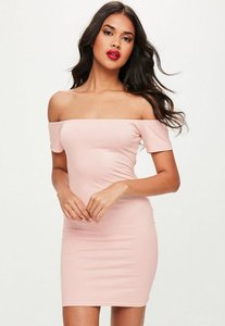Read more about Pink bardot short sleeve bodycon mini dress beige