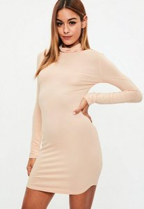 Read more about Nude roll neck long sleeve curve hem bodycon dress beige