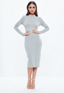 Read more about Grey high neck long sleeve bodycon midi dress grey