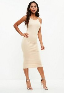 Read more about Nude racer neck bodycon mini dress beige